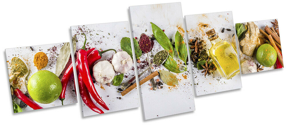 Food Ingrotients Kitchen Print CANVAS WALL ART Five Panel Multi-Colourot