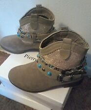 NIB Women's Taupe suede western booties torquoise& silver/two buckles, SZ 8M