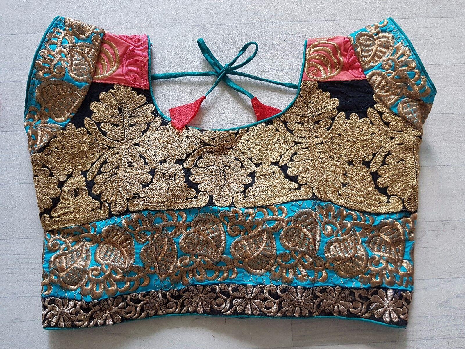 NEW Sari Saree Blouse Choli Tread Work Stitched Indian Bollywood Asian D0140