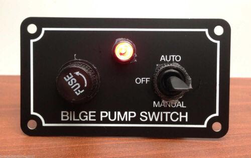 MARINE BOAT BILGE PUMP SWITCH ALUMINUM PLATE 3 WAY AUTO OFF MANUAL SPRING RETURN