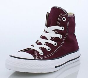 564a0bc0b8c4 Converse ALL STAR Hi TOP Burgundy Sneakers Youth Size 2 Kids Shoes ...