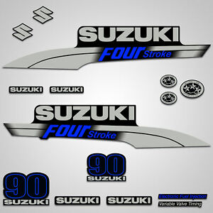 Outboard Engine Graphics Kit Sticker Decal for Suzuki 90 hp Blue