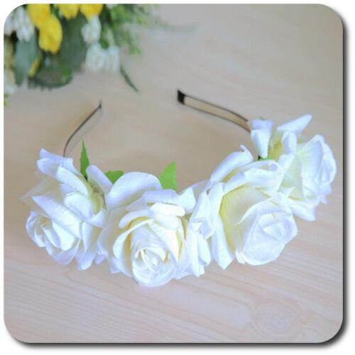 XXL Haarreif Große Rosen Hochwertiger Blumen Haarreifen Haarband Hochzeit Braut