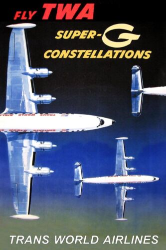 TWA Trans World Airlines Lockheed Constellation New Airplane Travel Poster 055