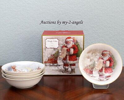 S//4 NEW Pottery Barn NOSTALGIC SANTA STONEWARE BOWLS Christmas *Cereal Soup More