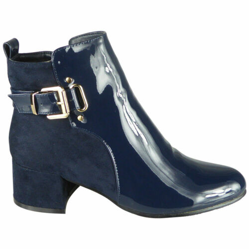 Womens Ankle Boots Casual Work Party Shiny Faux Suede Buckle Ladies Shoes Size