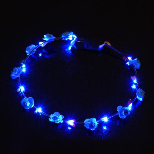 LED Flower Floral Hairband Garland Crown Glowing Wreath Vines Headband Romantic