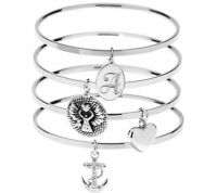 Qvc Steel By Design Inspirational Initial Bangle Bracelet Heart Anchor Charm
