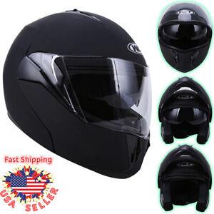 DOT Flip up Modular Full Face Motorcycle Helmet Dual Visor Race Sport Bike Black