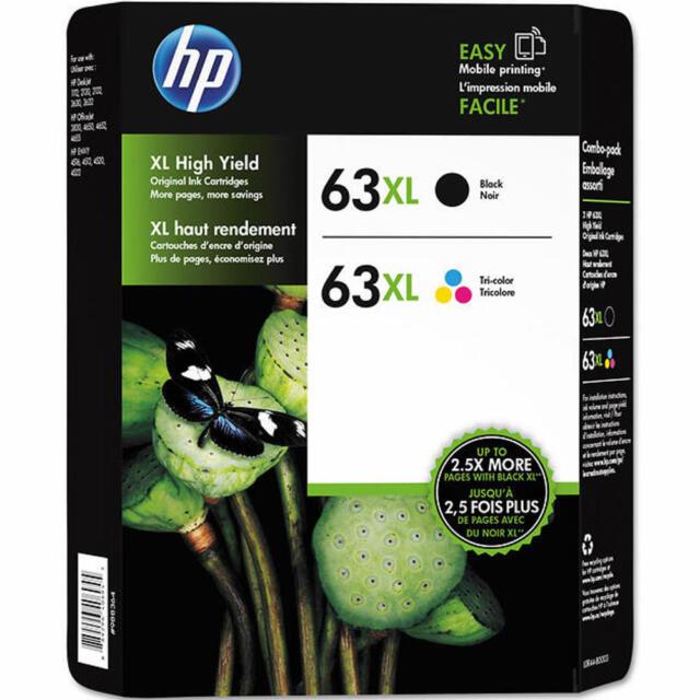 2 PACK HP GENUINE 63XL Black Tri Color Ink NO RETAIL BOX