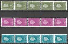xxx Nederland NVPH nrs. 952RF, 955RF en 956RF - Rolstroken van 5 - Fosfor 1981