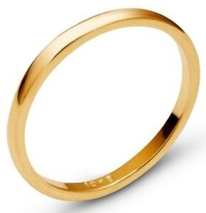 Solid-10k-Yellow-Gold-2mm-Comfort-Fit-Men-Women-Wedding-Band-Ring-Size-5-13