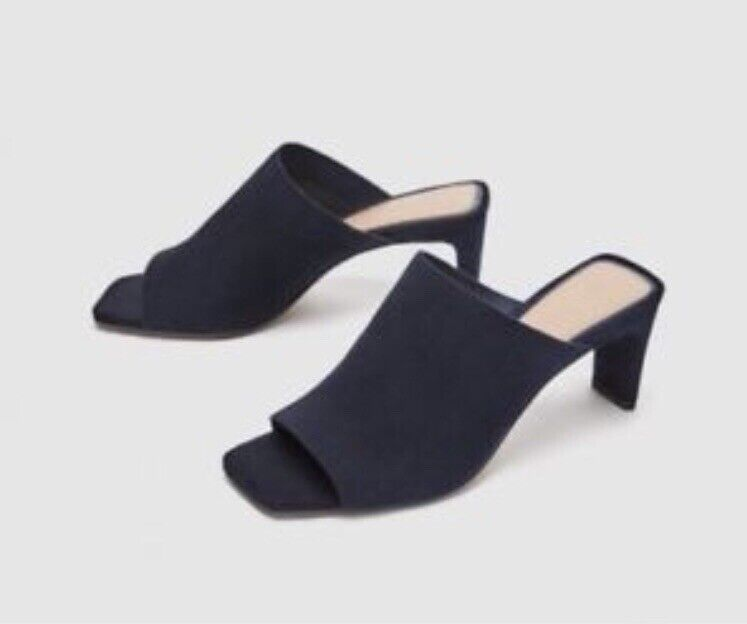 BNWT ZARA Woman Navy bluee Soft Leather Open Toe Heel Sandal UK36