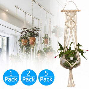 Pot-Holder-Macrame-Plant-Hanger-Hanging-Planter-Basket-Jute-Rope-Braided-CraftLD