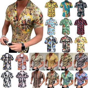 Men-Short-Sleeve-Summer-Hawaiian-Floral-T-Shirt-Beach-Casual-Holiday-Party-Tops