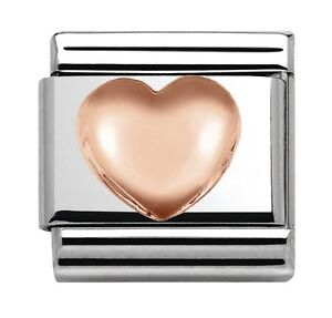 5573c0be32f17 Details about Nomination Charm Rose Gold Raised Heart RRP £20