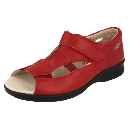 Ladies Red Leather Easy B Open Toe Summer Sandals Snowflake 2