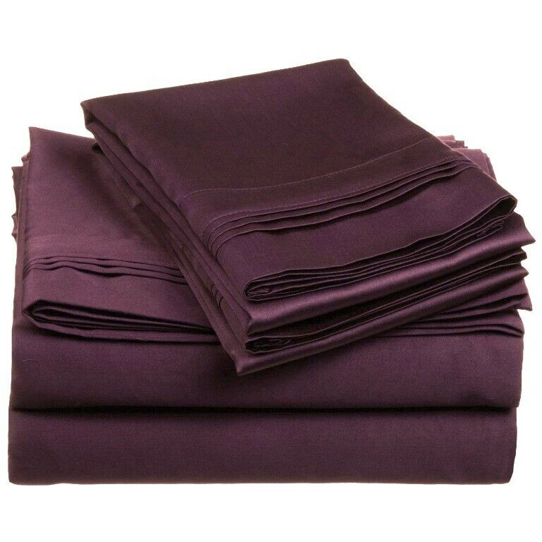 4-pc Olympic Queen 100% Egyptian Cotton Plum Sheet Set Triple Pleated Hem