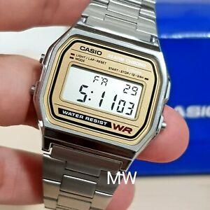 18fe29b63a28 New Casio A158WA-9 Vintage Retro Silver Digital Alarm Chrono Watch ...
