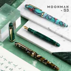 New-Moonman-S3-Acrylic-Fountain-Pen-Gift-Set-Beautiful-Colored-Barrel-EF-F-Nib