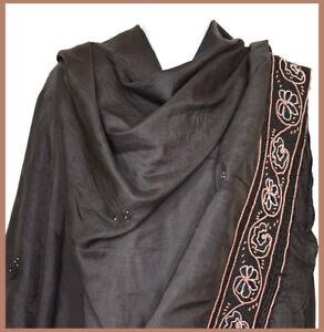 Pure-Silk-Hand-Embroidered-Vintage-Long-Stole-Wrap-Dupatta-Veil-Black-Color