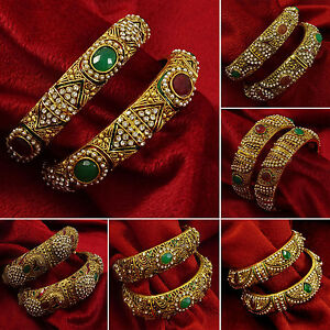 Jewelry & Watches Engagement & Wedding Cheap Price Goldtone Ethnic Cz Stone Screw Lock 2pc Kada Bangle Set Bracelet Party Jewellery Attractive Designs;