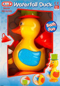 Juguete-De-Bano-Pato-Cascada-Agua-Pulverizacion-de-Rueda-de-giro-de-12-meses