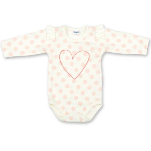 Fille Bébé 100/% Coton Body manches longues rose à pois 0-3 To 18-24 mois