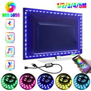 NEW RGB LED Strip Lights Music Sync Bluetooth APP Control TV PC Back Light USB