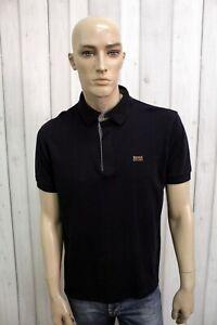 HUGO-BOSS-Uomo-Polo-Blu-Taglia-L-Cotone-T-Shirt-Casual-Maglietta-Manica-Corta