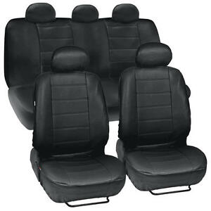 Black-Leatherette-Car-Seat-Covers-Front-Rear-Full-Set-Synthetic-Leather-Auto