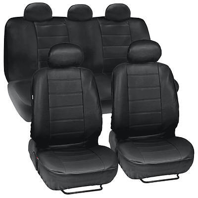 Black Leatherette Car Seat Covers Front Rear Full Set Synthetic Leather Auto