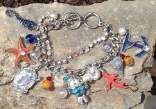 New Pretty Colorful Beach Nautical Starfish Anchor Silver Charm Bracelet Toggle