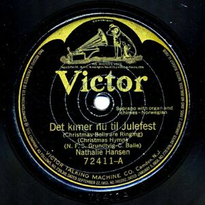 NORWEGIAN CHRISTMAS HYMNS on 1918 Victor 72411 - Sung by Nathalie Hansen