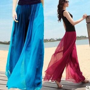 Women-Fashion-Wide-Leg-Pants-Chiffon-High-Waist-Plain-Loose-Pants-Trousers