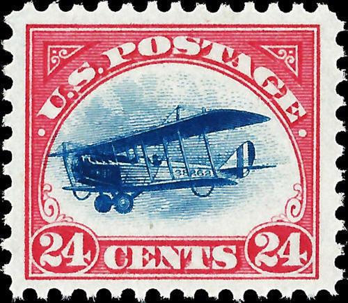 1918 24c DeHavilland Biplane, Carmine Rose & Blue Scott