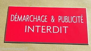 """Plaque Gravée """"demarchage & Publicite Interdit"""" Format 98 X 200 Mm Lyjjmxse-07225900-819610711"""