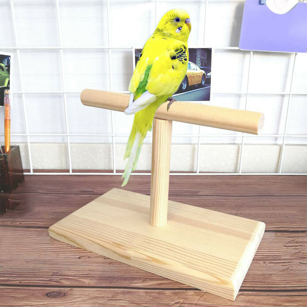 HK- Wood Bird Parrot Training Spin Perch Stand Playground Platform Toy Portable Bird Supplies