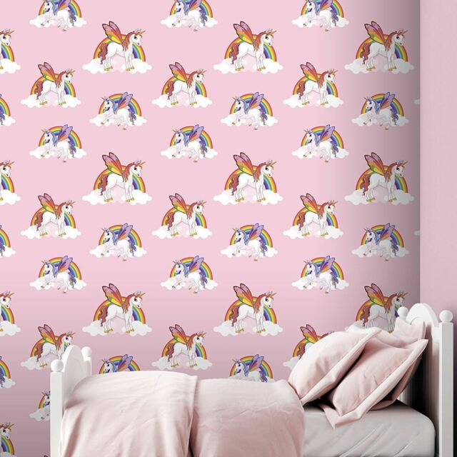 MAGICAL RAINBOW UNICORNS WALLPAPER KIDS GIRLS ROOM