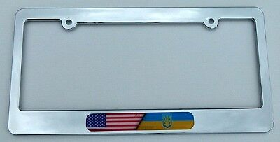 2 License Plate Frames USA Flag Design