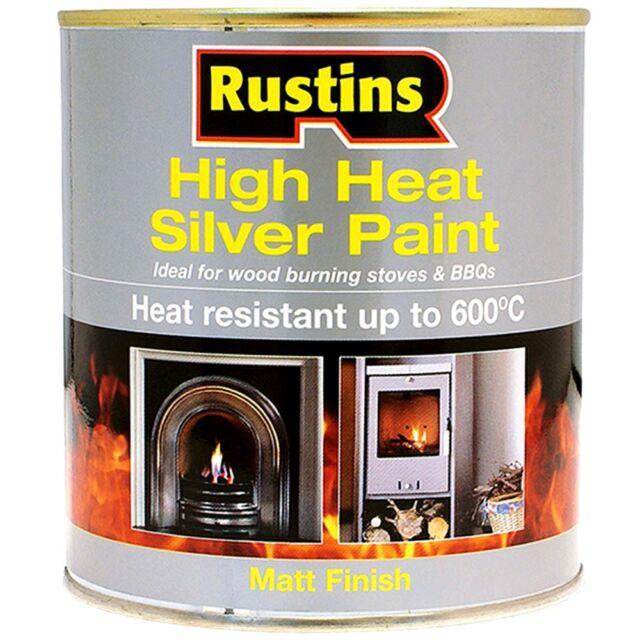Rustins High Heat Resistant Matt Silver Paint 600 Degrees C - 250ml