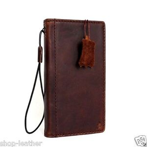 genuine italian leather Case for Htc One m9 book wallet premium cover thin brown