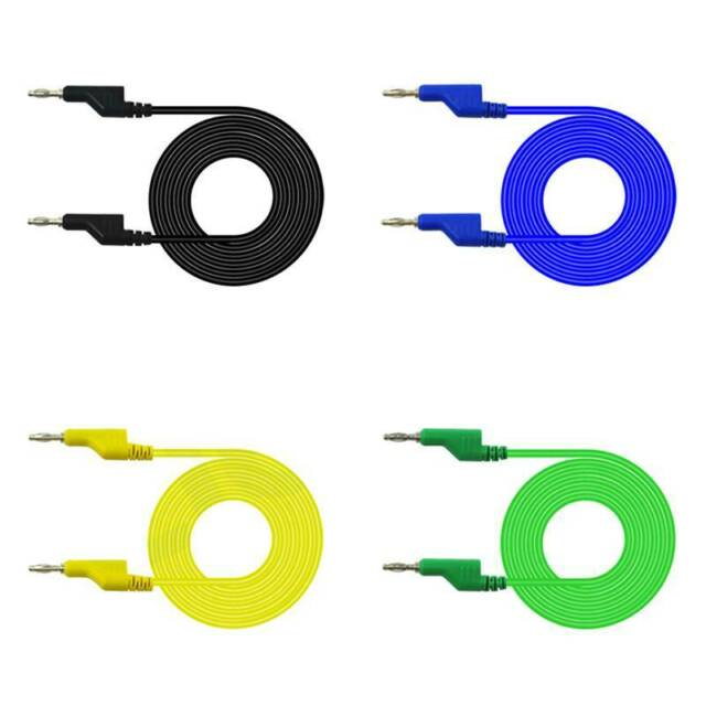5Pcs 4mm Dual Banana Plug Smooth Silicone Lead Test Cable Cord 1m For Multimeter