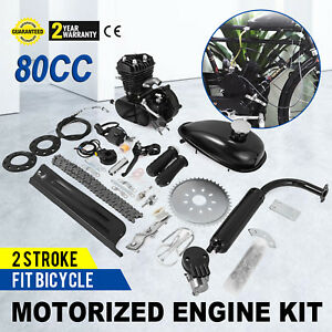 80cc Gas Engine Motor Black 2l Fuel Tank Air Cooling 2 Stroke Cycle