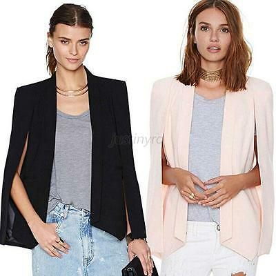 Women Ladies Long Sleeve Lapel Cape Poncho OL Jacket Cloak Coat Blazer Suit New