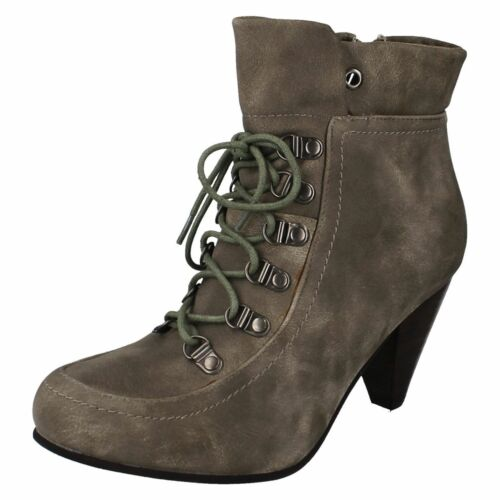 R7B Coco L8R620 Ladies Taupe Lace Up /& Side Zip Fashion Ankle Boots