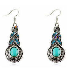 Retro Style Tibet Silver Turquoise Beads Gemstone Charms Jewelry Dangle Earrings