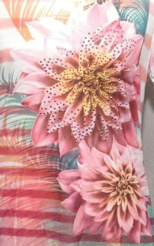 Women/'s V-Neck Top,Sublimation Flower Print,100/% Poly,by White Stag,Soft Fabric.