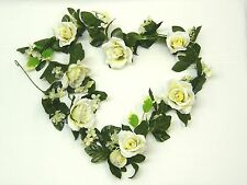 Artificial Silk Flowers Cream Rose Hydrangea Ficus Fern Pearl Wedding Garland