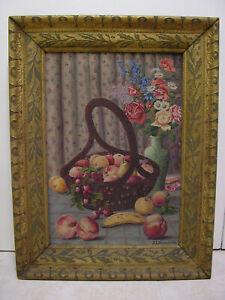 Antique Oil Painting Folk Art Still Life Fruit Flowers Cherry Banana Peach Pear
